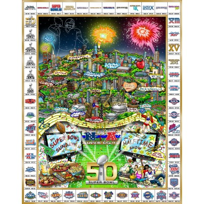 Celebrating 50 Years of Super Bowl by Charles Fazzino (Deluxe)