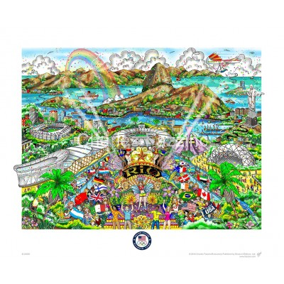 """2016 Rio Olympic Games"" is available in three editions: deluxe, premiere, and flat. Deluxe- Triple layered on white with stones and glitter. Image Size: 16""w X 12""h Edition Size: 200 Premiere- Triple layered on white with stones and glitter. Image Size"