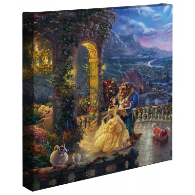 Kinkade Disney Minis: Beauty And The Beast Dancing In The Moonlight