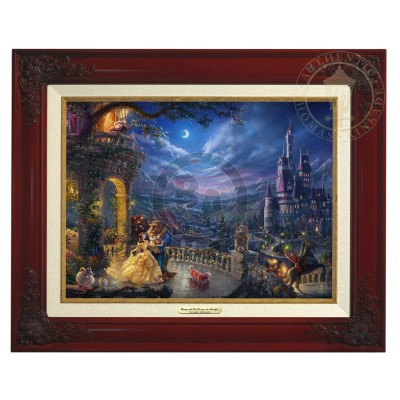 Kinkade Disney Canvas Classics: Beauty and the Beast Dancing In Moonlight (Classic Brandy Frame)