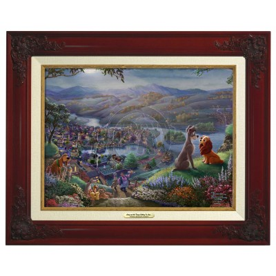 Kinkade Disney Canvas Classics: Lady and the Tramp Falling In Love (Classic Brandy Frame)
