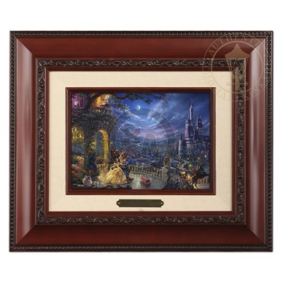 Kinkade Disney Brushworks: Beauty And The Beast Dancing In The Moonlight (Classic Brandy Frame)