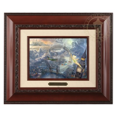 Kinkade Disney Brushworks: Tinker Bell And Peter Pan Fly To Neverland (Classic Brandy Frame)