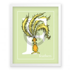 F, Feathers by Dr. Seuss (Light Green)