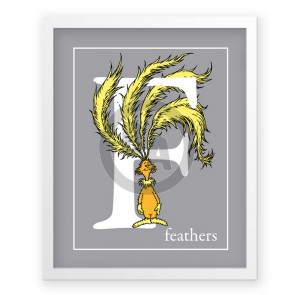 F, Feathers by Dr. Seuss (Grey)