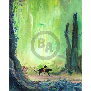 Mowgli and Bagheera by Harrison Ellenshaw (Canvas)