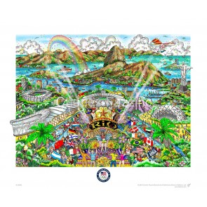 """""""2016 Rio Olympic Games"""" is available in three editions: deluxe, premiere, and flat.  Deluxe- Triple layered on white with stones and glitter. Image Size: 16""""w X 12""""h Edition Size: 200  Premiere- Triple layered on white with stones and glitter. Image Size"""