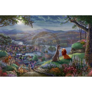 Lady and the Tramp Falling in Love by Thomas Kinkade Studios