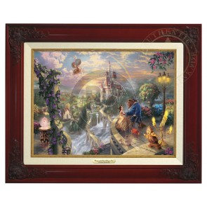 Kinkade Disney Canvas Classics: Beauty and the Beast Falling In Love (Classic Brandy Frame)