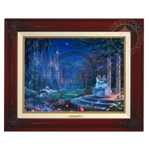 Kinkade Disney Canvas Classics: Cinderella Dancing In the Starlight (Classic Brandy Frame)