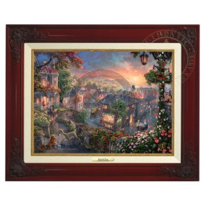 Kinkade Disney Canvas Classics: Lady and the Tramp (Classic Brandy Frame)