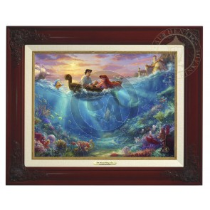 Kinkade Disney Canvas Classics: Little Mermaid Falling In Love (Classic Brandy Frame)