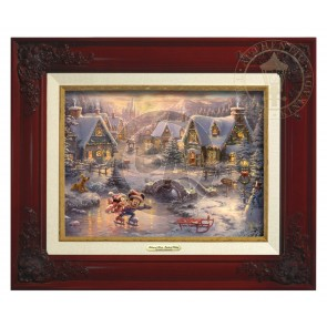 Kinkade Disney Canvas Classics: Mickey and Minnie Sweetheart Holiday (Classic Brandy Frame)