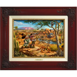 Kinkade Disney Canvas Classics: Mickey and Minnie In the Outback (Classic Brandy Frame)