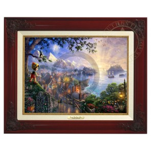 Kinkade Disney Canvas Classics: Pinocchio Wishes Upon A Star (Classic Brandy Frame)