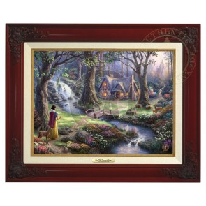 Kinkade Disney Canvas Classics: Snow White Discovers the Cottage (Classic Brandy Frame)
