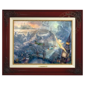 Kinkade Disney Canvas Classics: Tinker Bell and Peter Pan Fly to Neverland (Classic Brandy Frame)