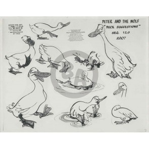 Peter and the Wolf Photostat Model Sheet: Duck