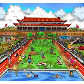 Olympic Games, 2008, Beijing, China by Charles Fazzino