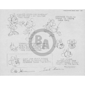 Disney Publication Model Sheet: Minnie Mouse (c) signed Ollie Johnston and Frank Thomas