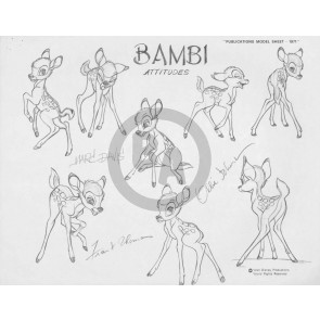 Disney Publication Model Sheet: Bambi signed Marc Davis, Ollie Johnston, and Frank Thomas