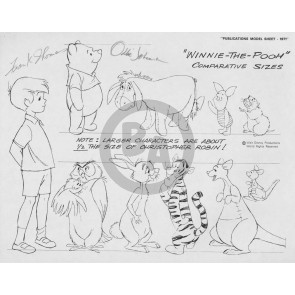 Disney Publication Model Sheet: Winnie the Pooh / comparative sizes signed Ollie Johnston and Frank Thomas