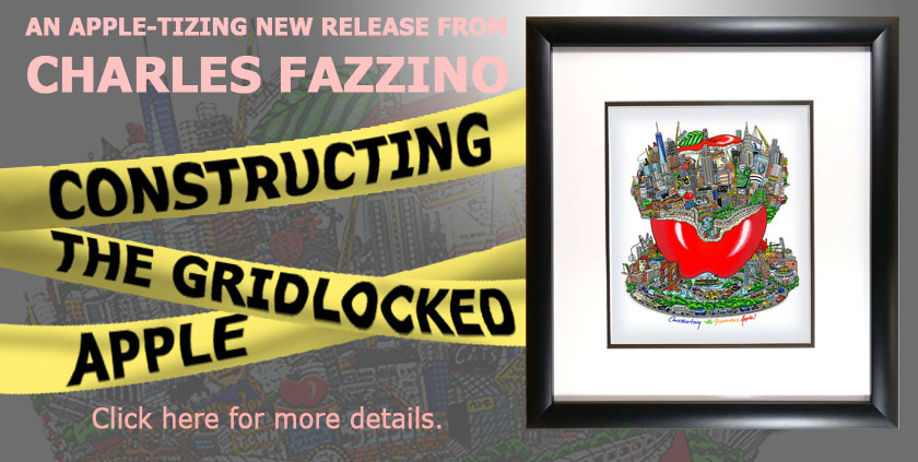 Constructing the Gridlocked Apple by Charles Fazzino